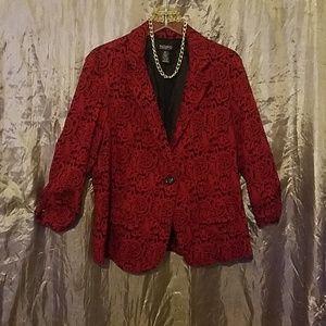 Soho Apparel Jackets & Coats - Red & Black flower blazer